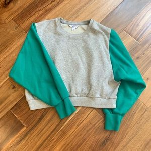 Cropped crew neck sweater